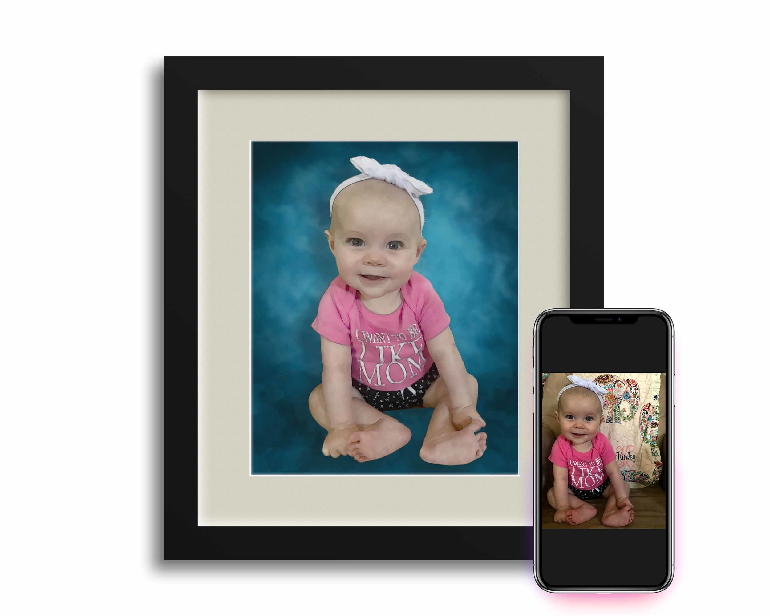 Jessica wanted to surprise her husband with framed rendering of their favorite photo for his birthday and to hangto hang in their new home.