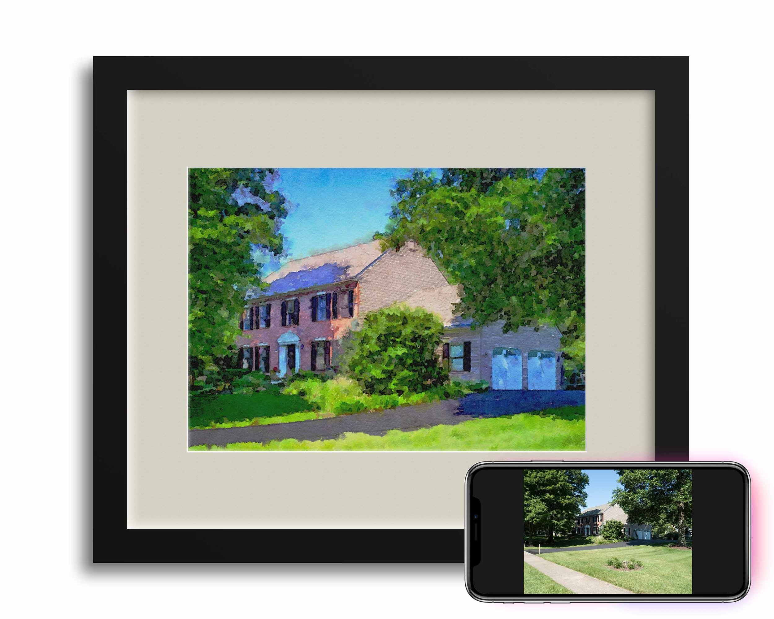 After 19 years bringing up three kids in the same house the family moved 2,000 miles away. A photograph of the old house was taken and rendered into a Photocolor. The final Photocolor was framed and hung in the new house and three MiniArt Cards were framed for each of the kids to have in their dorm rooms.