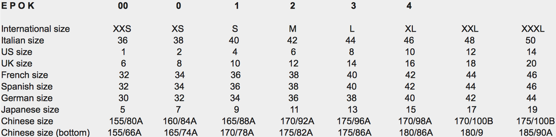 E  P O K Size Chart