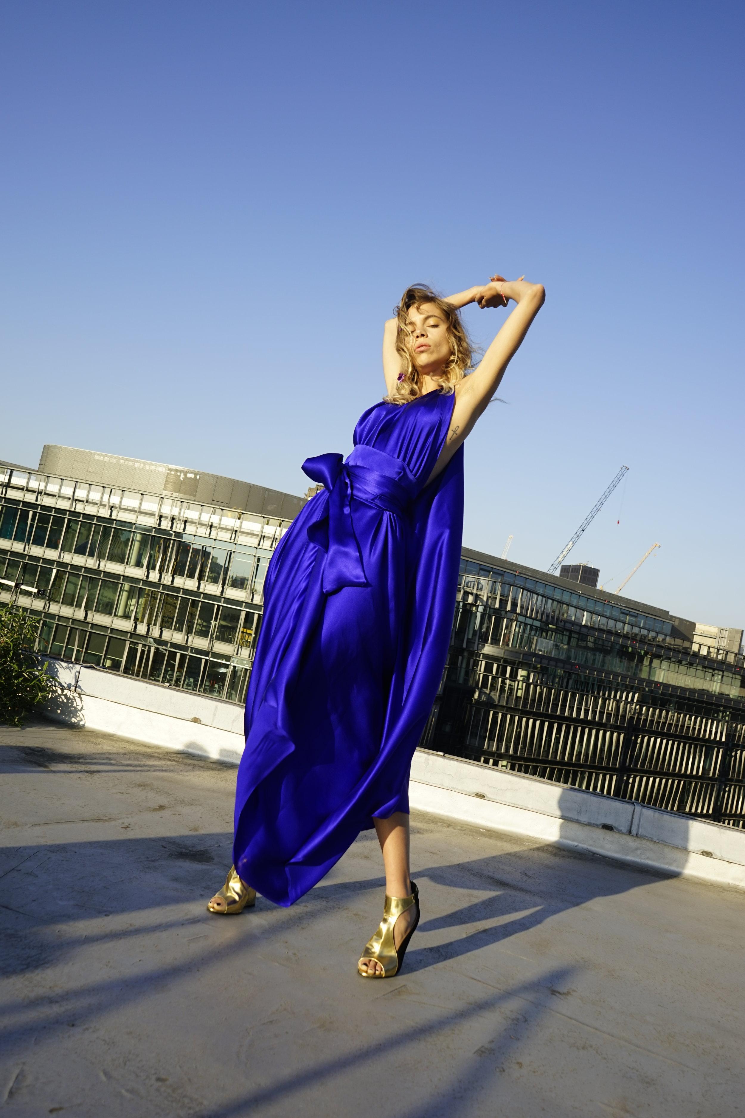 E P O K Deep Sapphire Blue Silk Goddess  Dress