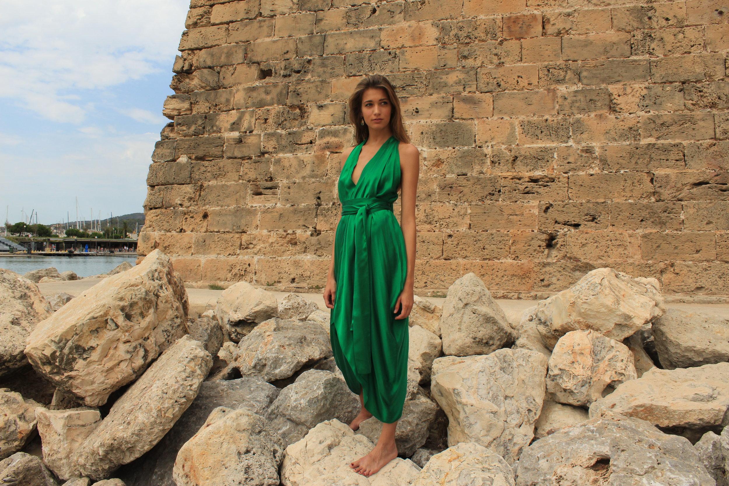 E P O K Emerald Green Silk Goddess  Dress