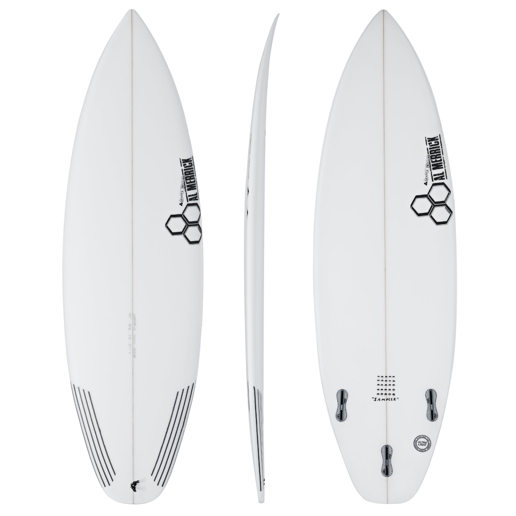 """Channel Islands """"Sampler"""" - RETAIL PRICE: $669YOU PAY: $499The C.I. Sampler is currently available in the following sizes and fin setups.5'6 x 18 3/4 x 2 1/4 25.1L FCS 25'8 x 19 1/4 x 2 3/8 27.9L FCS 25'9 x 19 1/2 x 2 7/16 29.4L FCS 25'10 x 19 3/4 x 2 1/2 31.0L FCS 2"""