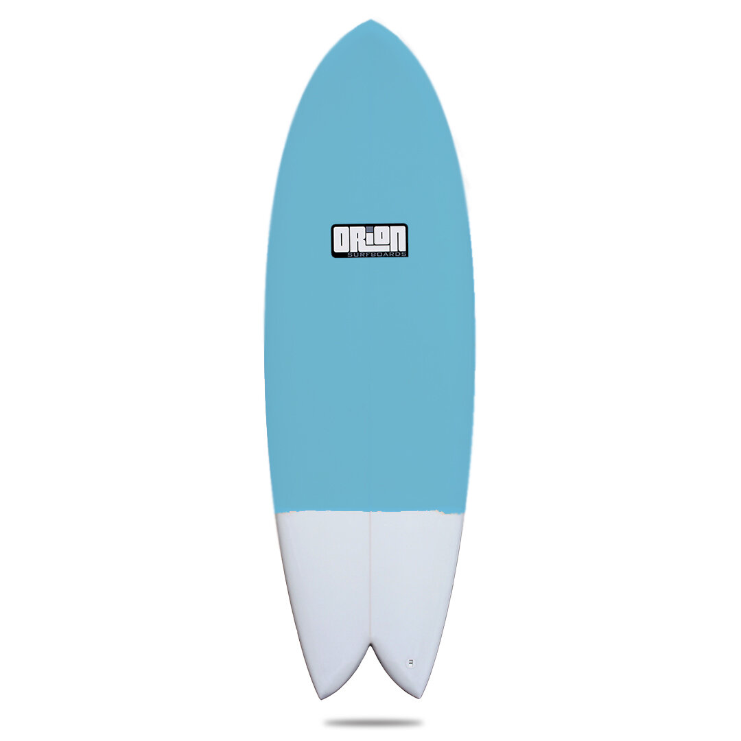 """Orion Surfboards """"Twin Fin Fish"""" - Retail Price: $599You Pay: $499The Orion Twin Fin Fish is available in the following sizes. (Colors may very)5'6 x 20.5 x 2.55'8 x 20.6 x 2.6"""