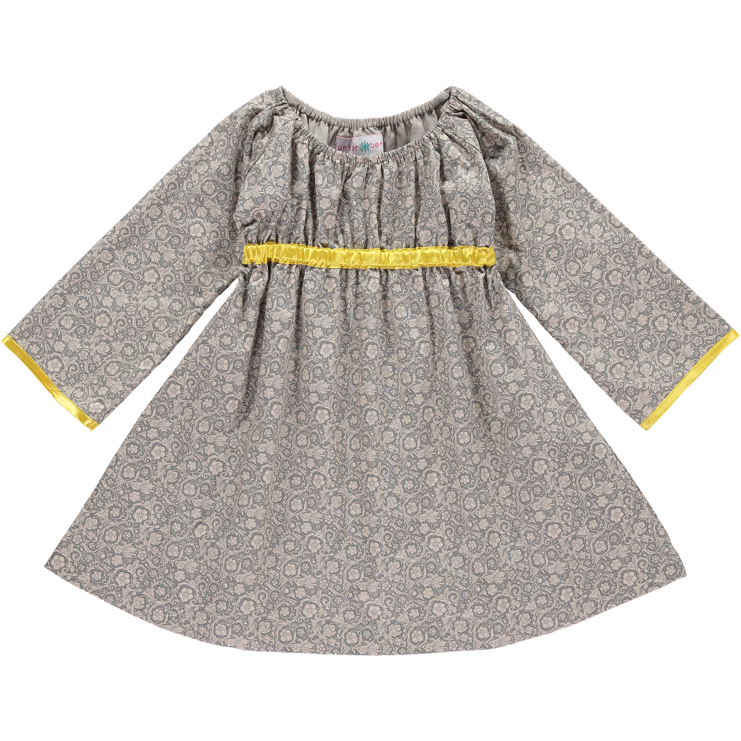Grey Floral and Yellow - Long Sleeved Empire Dress - £45