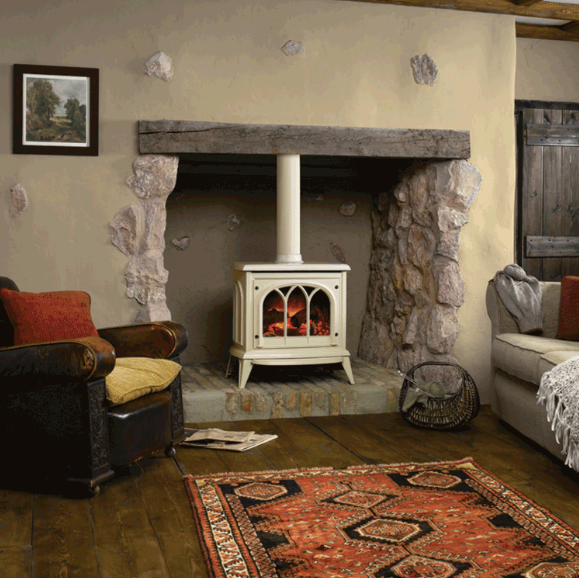 Huntington 40 Log Effect Electric Stove in Cream Enamel by Gazco.png
