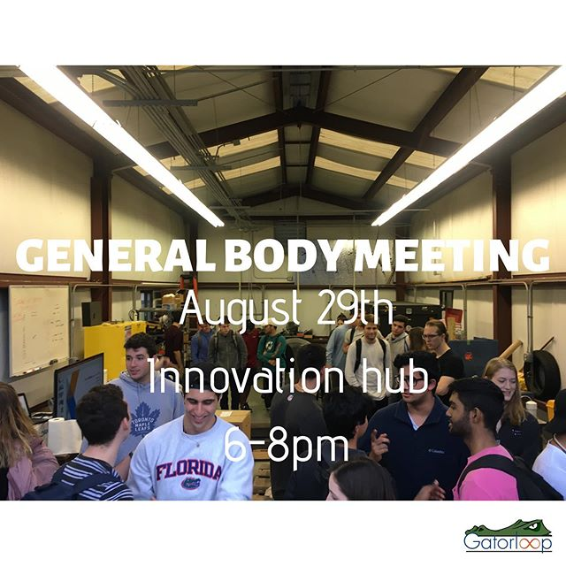 Gators, come out to our kickoff Fall GBM! - Gatorloop is Florida's premiere Hyperloop team actively designing, building, and testing Hyperloop technology to showcase our designs at the SpaceX Hyperloop Pod Competition - We are actively looking for engineers of all disciplines to join our teams, including Electrical & Computer Engineering systems, Mechanical Systems, Software systems, and Industrial systems. We are looking for leaders who are driven in helping us continue our innovation. There is no better time to work on ground breaking transportation technology! - If interested, please fill out the form at the link in our bio ❗️ ——————————————— 🐊 Go Gators, Go Gatorloop! 🚄 ———————————————