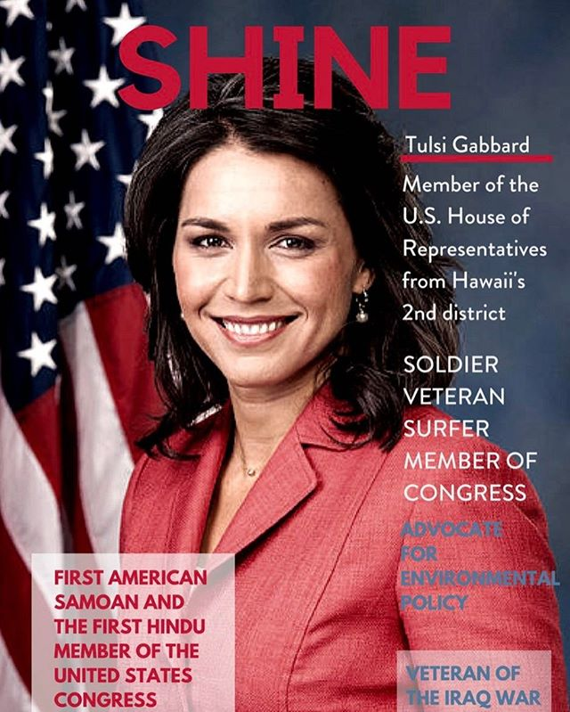 Tulsi Gabbard is a #congresswoman representing Hawaii's 2nd Congressional District.  She is also a #veteran of the Iraq war and along with #tammyduckworth, she is the first female combat veteran in the U.S. Congress.  She is an inspiring leader.  Her intelligence, diplomacy and courage could possibly make her the #firstfemalepresident  Read more about tulsi @ shineproject.co  #surfer #tulsi2020  #hawaii  #humantraffickingawareness  #alohaspirit