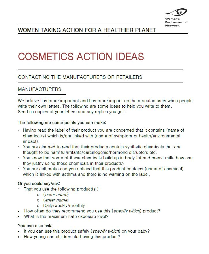 Cosmetics Action Ideas