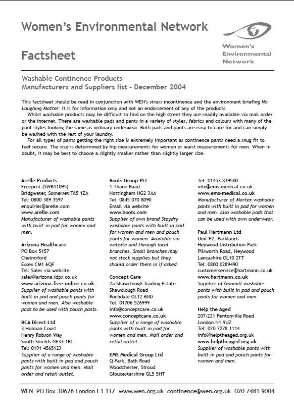 Factsheet: Washable continence products