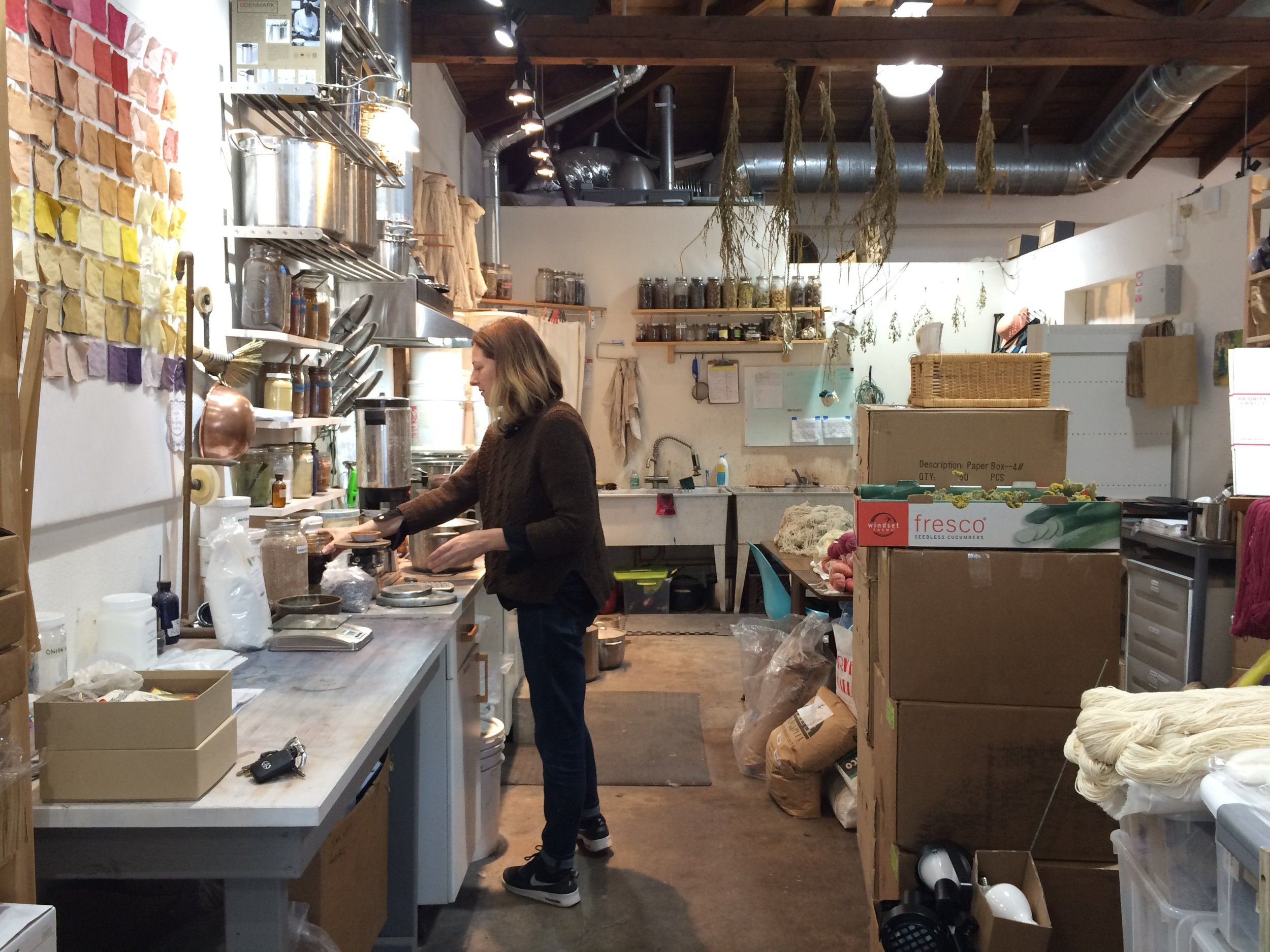 Kristine Vejar in her natural dye studio at A Verb for Keeping Warm