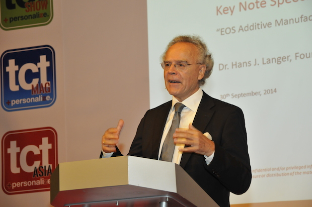 Dr Hans Langer, CEO of EOS, was one of the executive keynotes at TCT Show + Personalize 2014