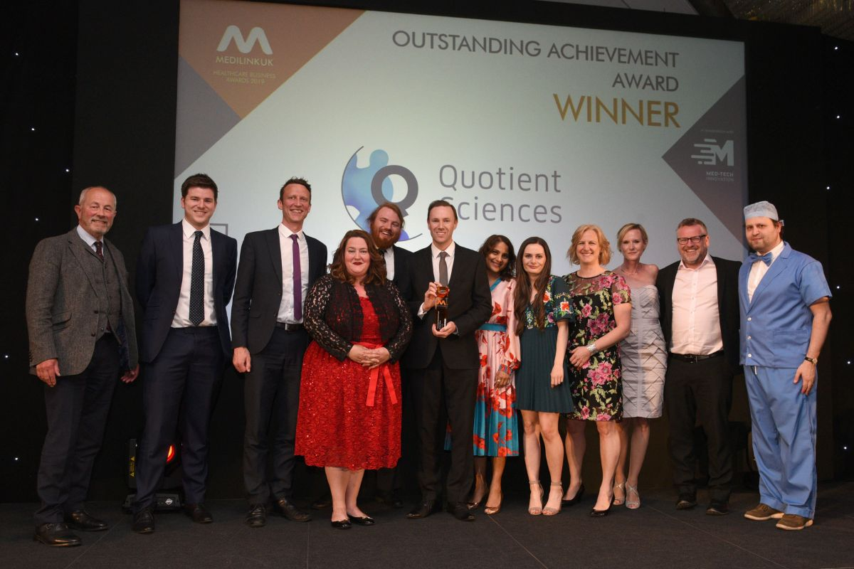 Quotient Sciences - Winners of the Outstanding Achievement Award