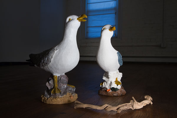 Installation view. Ready mades, 20 cm high seagull tourist memorabilia statues bought at the Baltic sea. Photo: Hulda Rós Guðnadóttir.