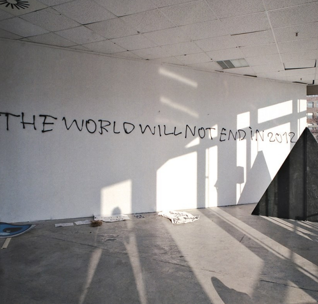 The World Will Not End  as spray paint message at Leap gallery, Berlin, Germany.  In collaboration with Claus Philipp Lehmann. The message is a trace left after a strobe light performance in the dark followed by live graffiti action. Part of performance night 'Manisensations' curated by Voin de Voin and Stephanie Ballantine. As part of curatorial policy the performance itself was not documented but left to the moment of the act.