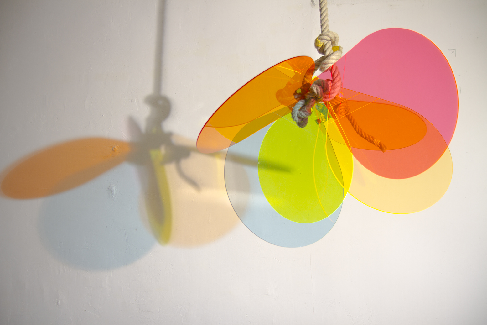 The Buoy sculpture in the studio. When installed with appropriate light it creates drawing on the wall.