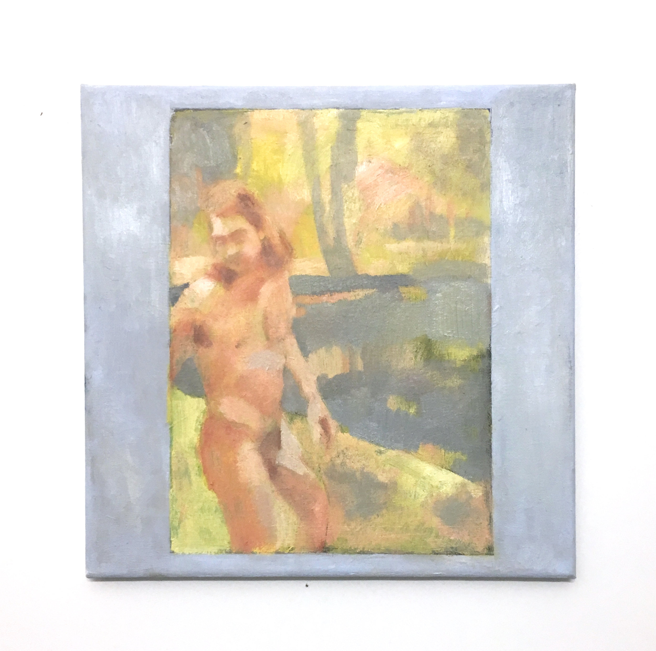 "Bather by a Creek in Timmulshult (Morning)    oil on canvas    12"" x 12""   2019"