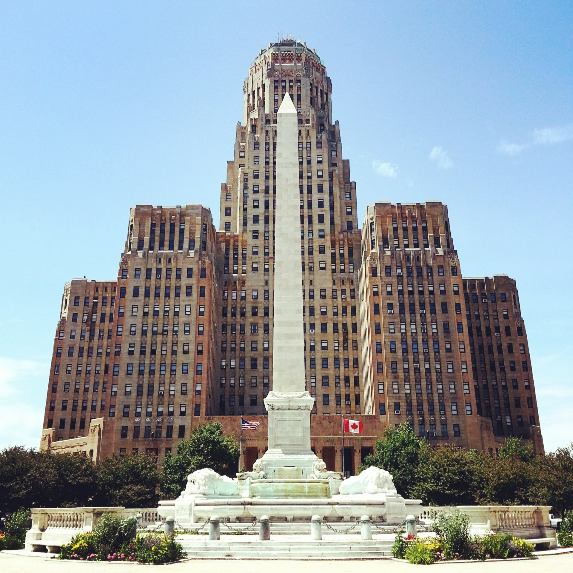 Buffalo City Hall.  McKinley Monument in the front defining the city center.