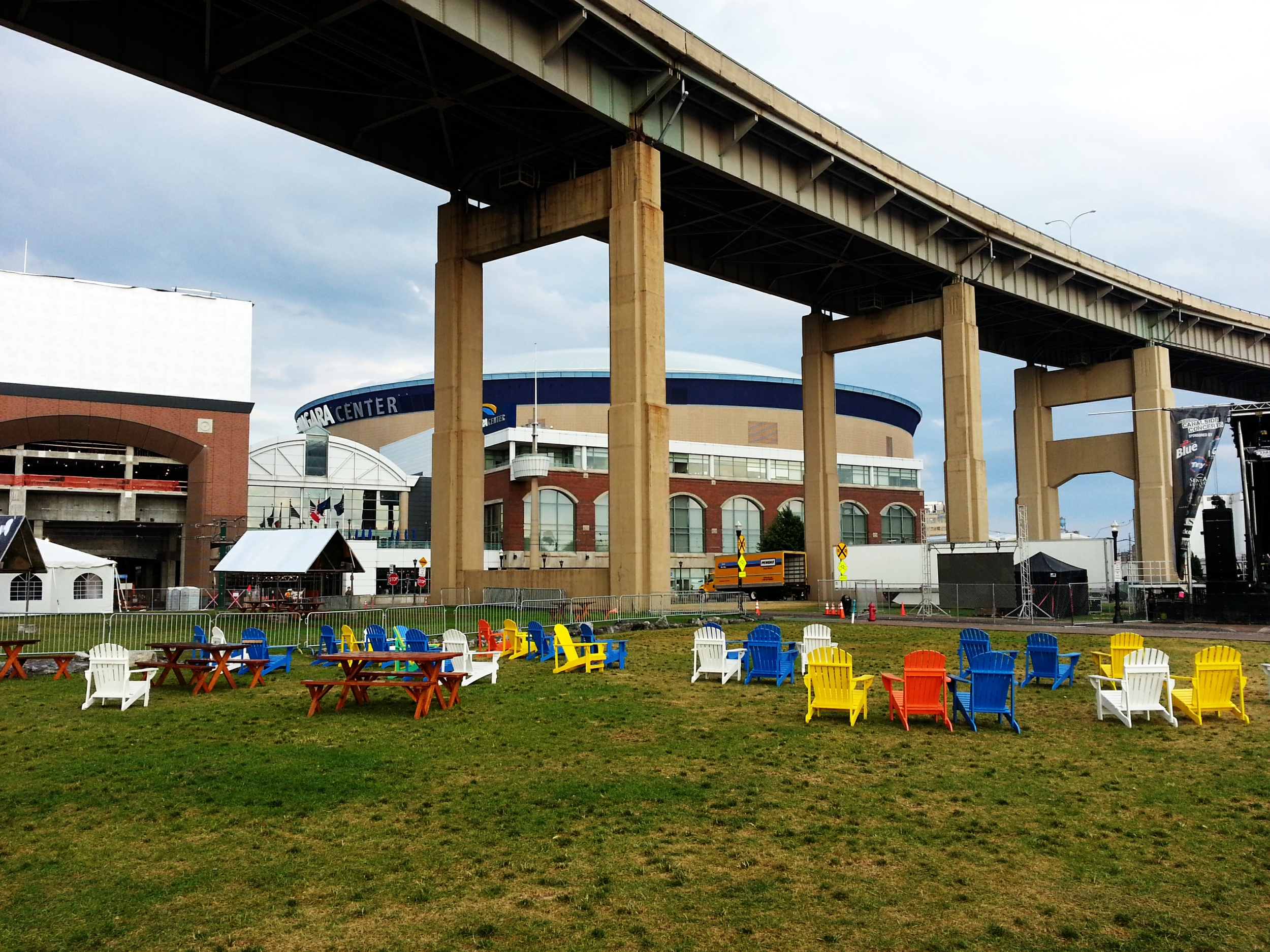 First Niagara Center.  The Buffalo Thruway passing between it and Canalside.