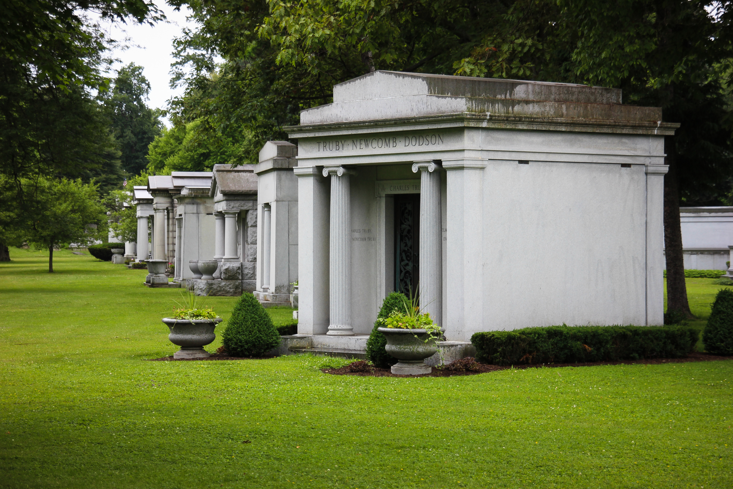 Forest Lawn Cemetery.  Family tombs.