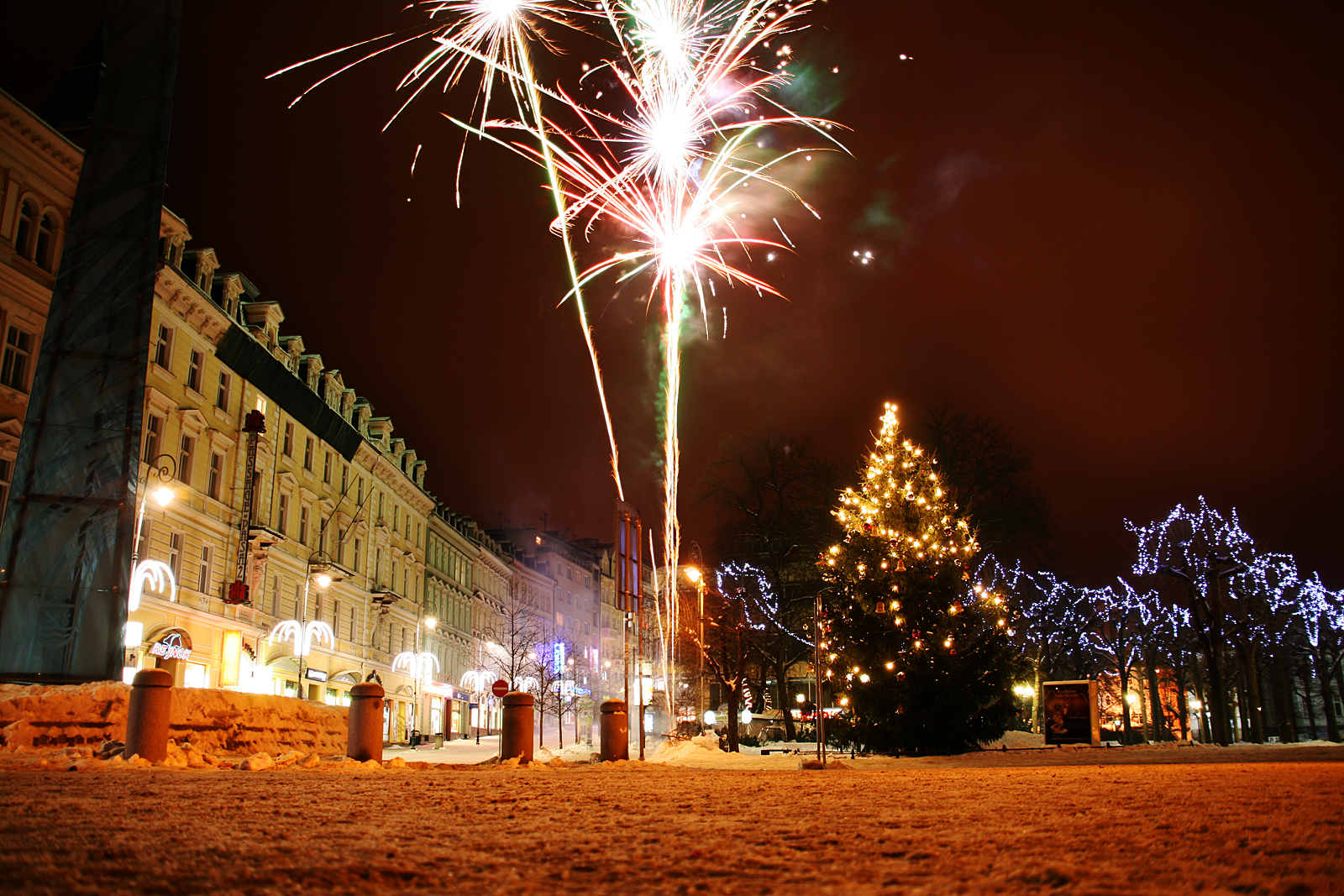 Karlovy Vary.  Fireworks in downtown.