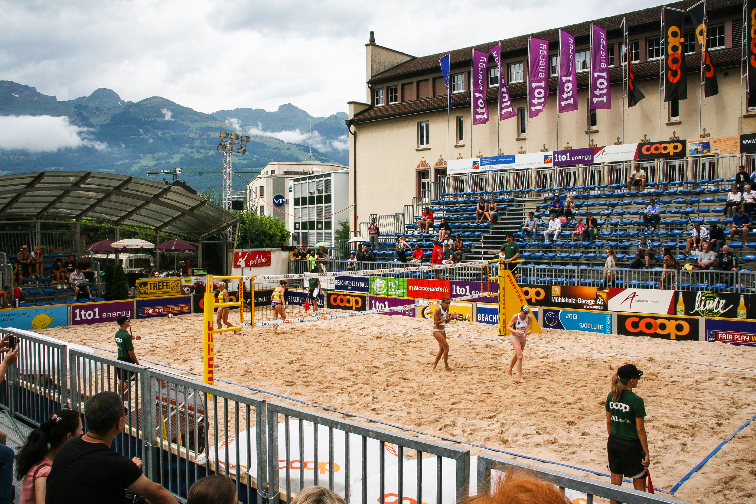 Vaduz.  The square in front of the City Hall can serve as a beach volleyball field like here for an international championship.