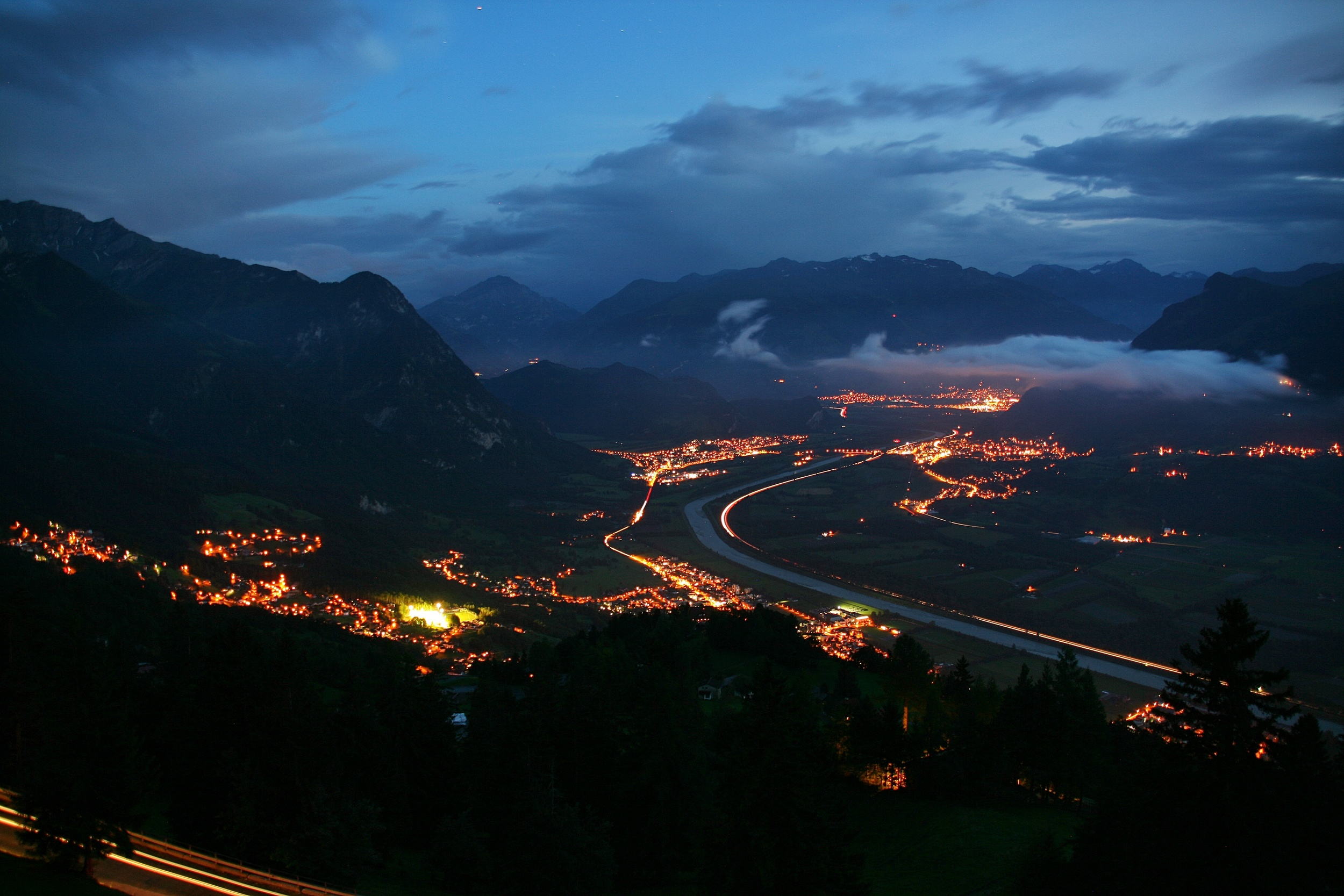 Liechtenstein . Night falls over the country. Seen from Gaflei, a small hamlet over Triesenberg.