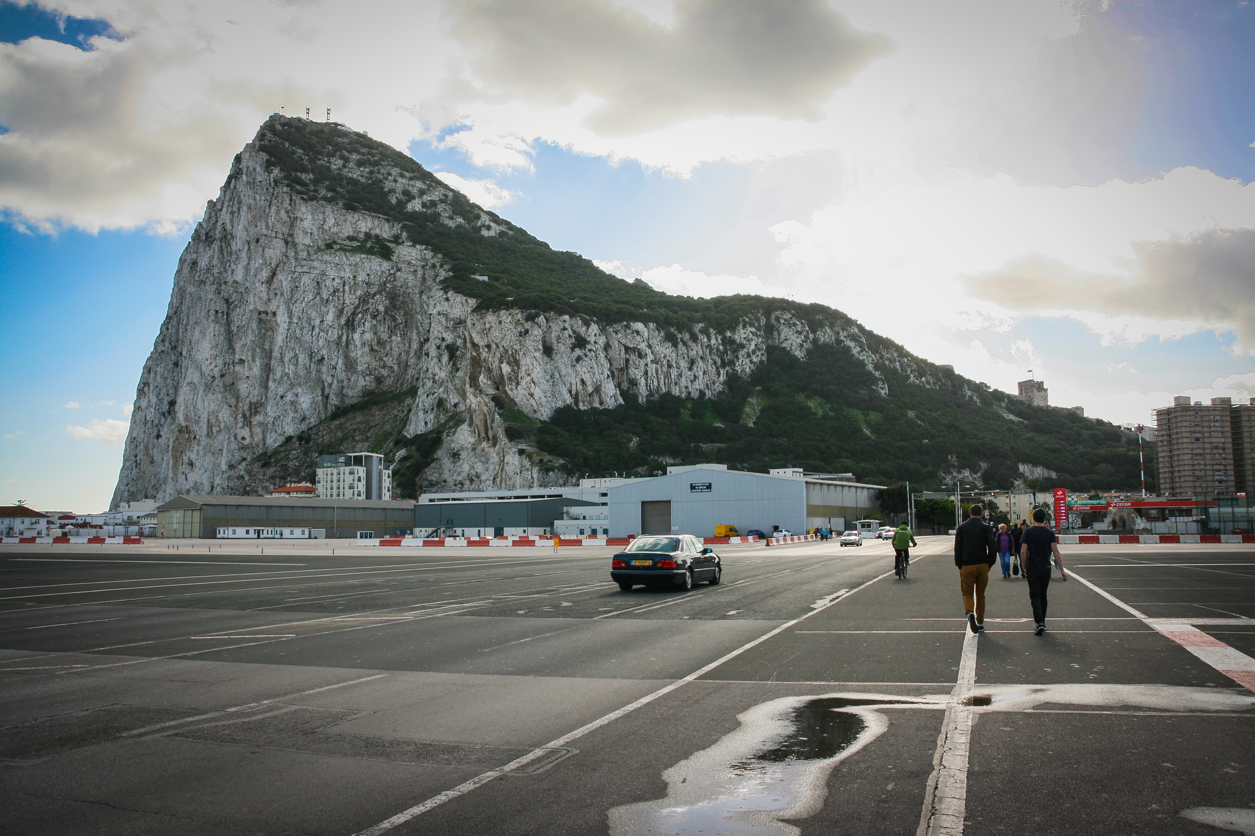 The Rock.  This famous landmark can be seen from far away... Especially when crossing an airport runway on foot...