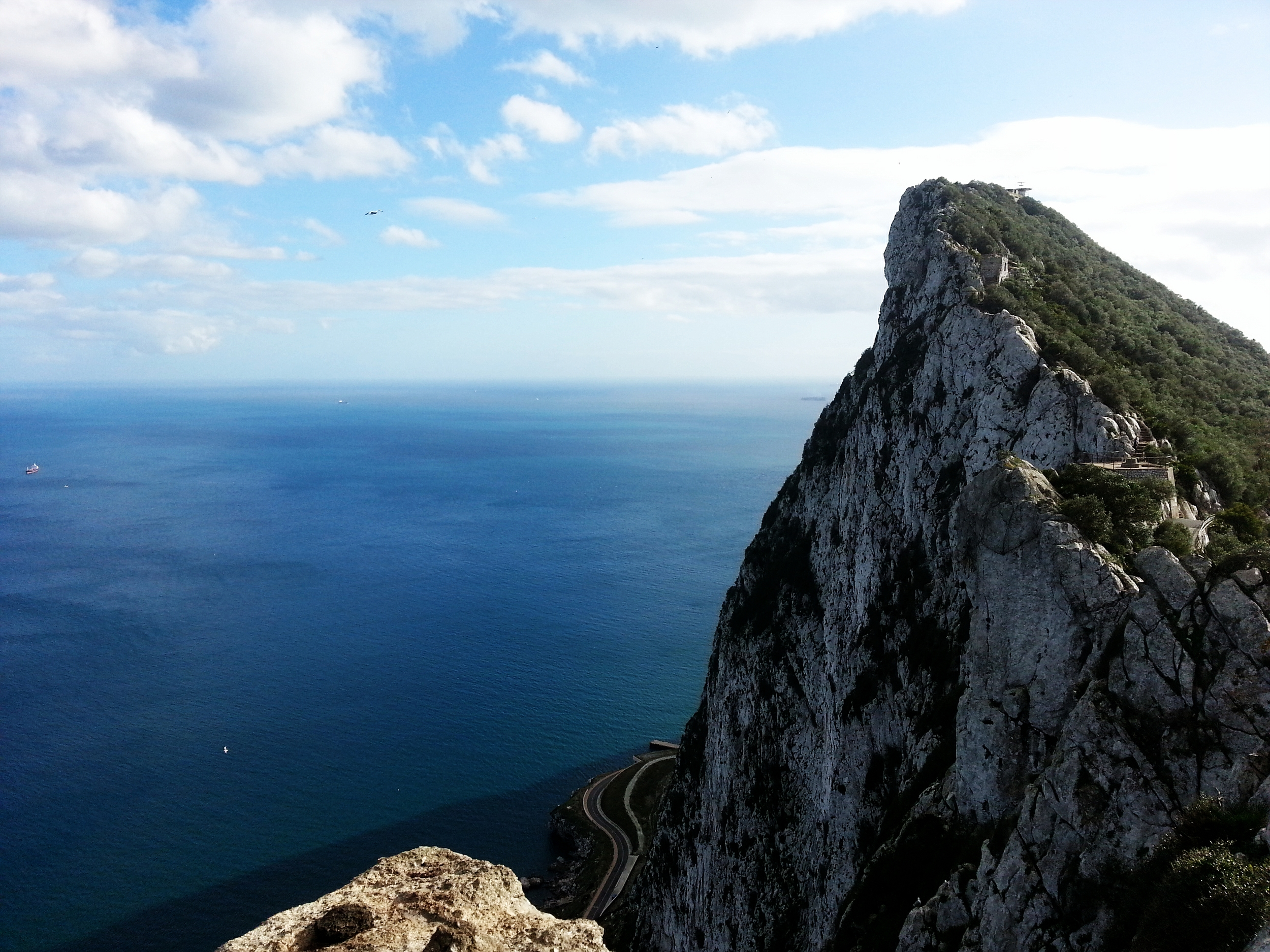 Gibraltar . View to the south-east from the Rock...