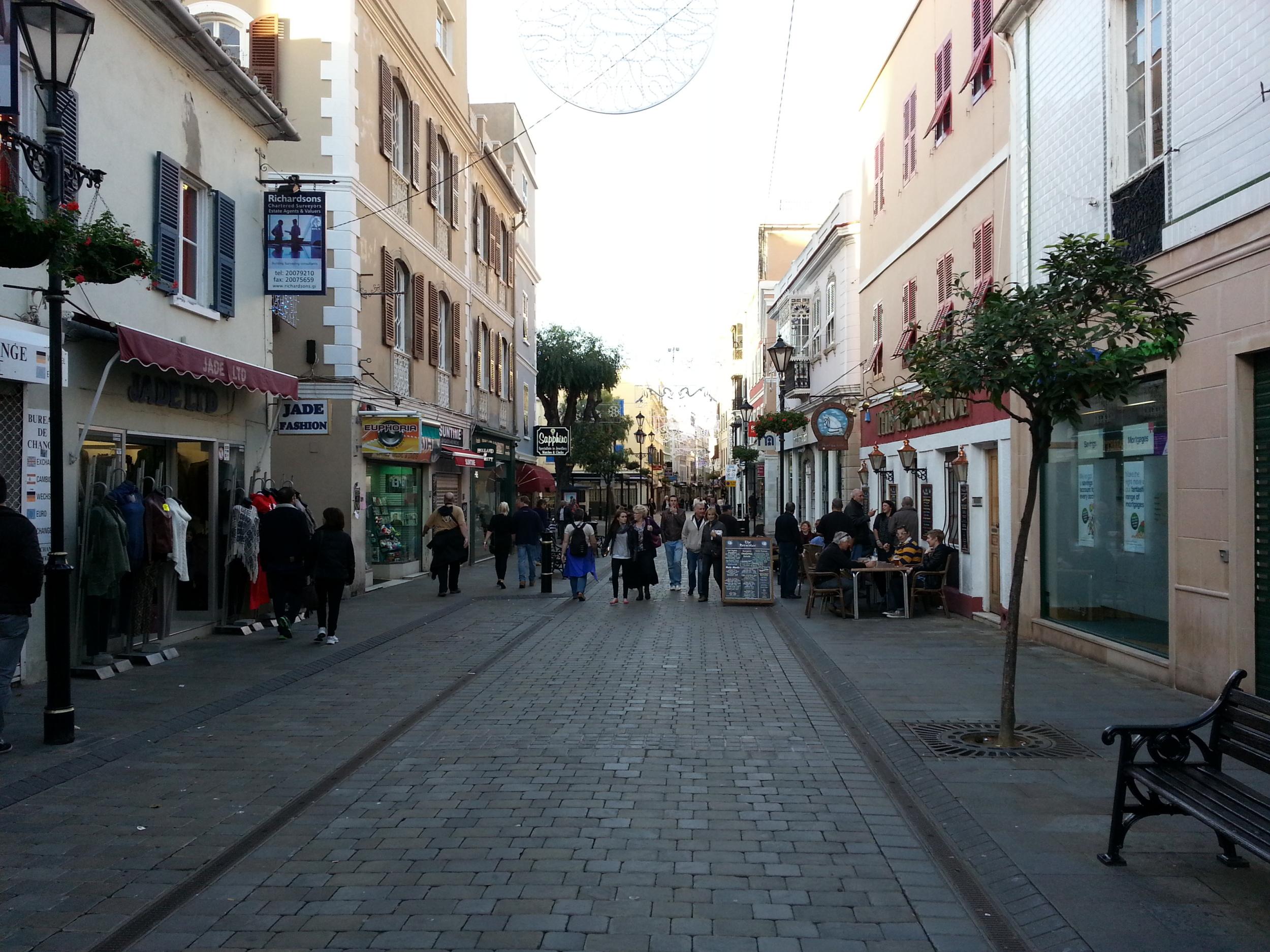 Gibraltar . Main Street. Mostly a pedestrian zone.