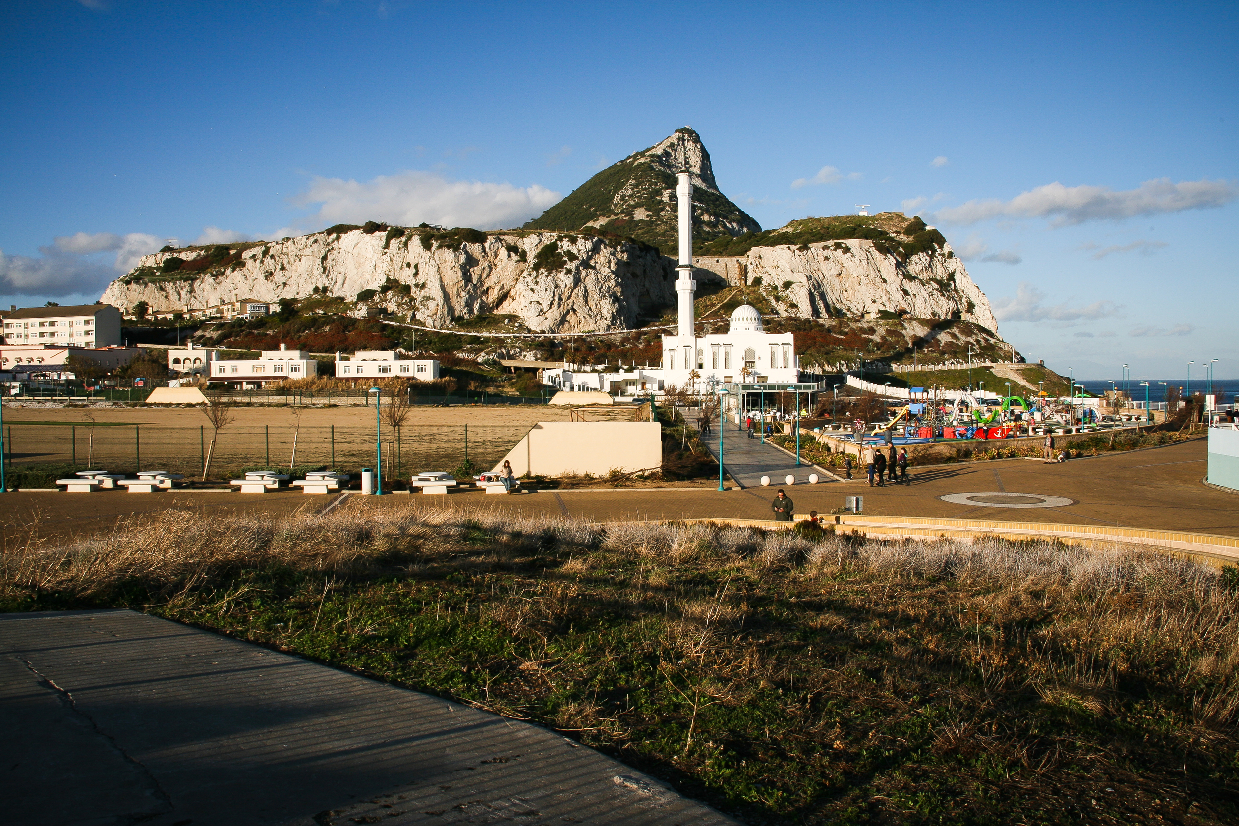 The Rock.  Seen from Europa Point. The Mosque of Two Holy Custodians and the children's playground in the front.