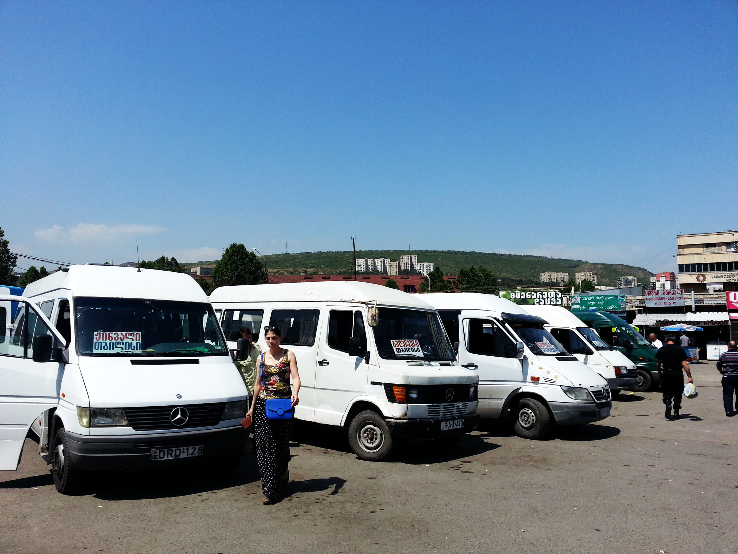 Tbilisi,Didube bus station.  Minibuses connect Tbilisi with surrounding villages and towns like Mtskheta and Gori and far away cities like Yerevan, Kutaisi and Batumi.