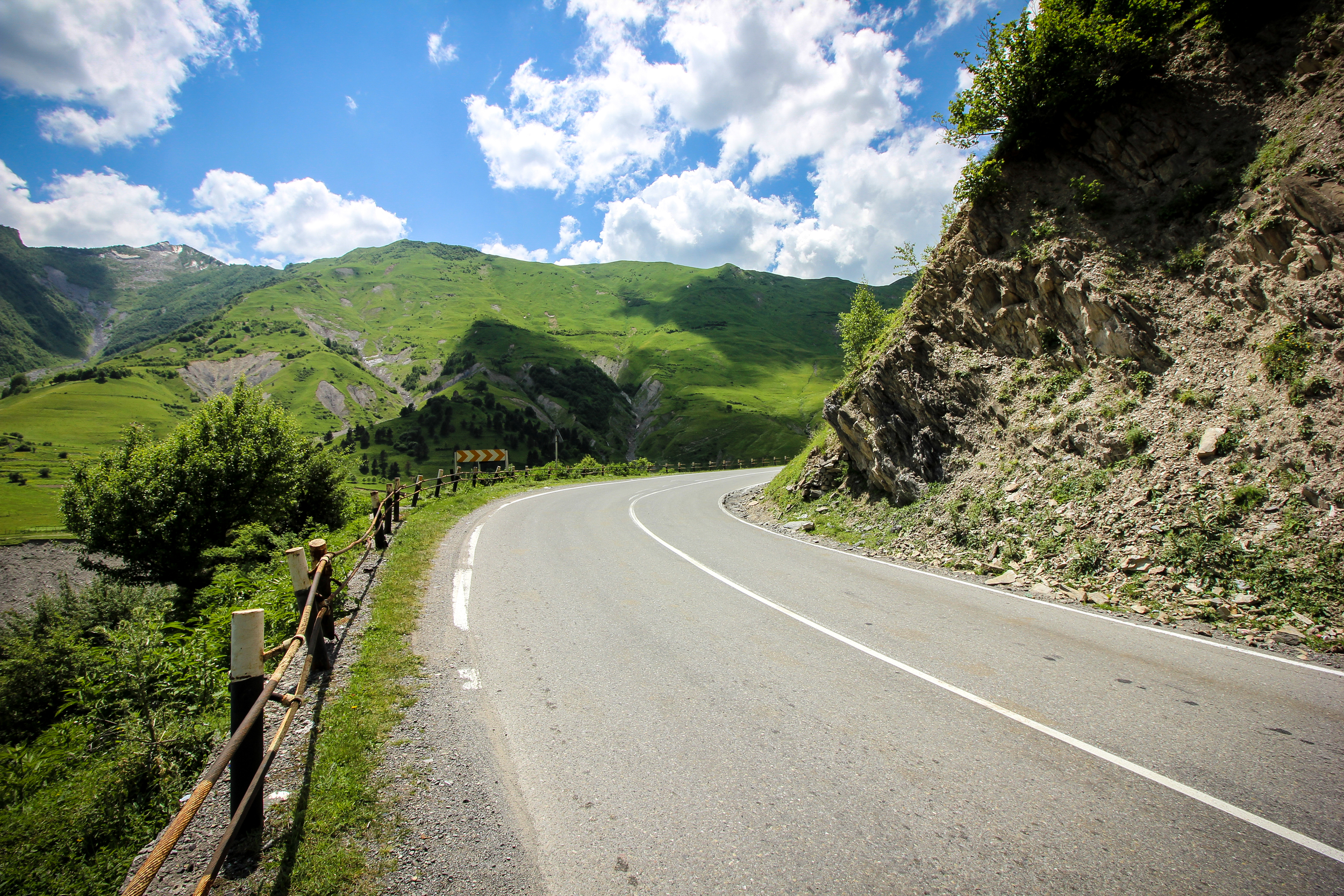 Georgian Military Road.  The way to Kazbegi is steep and at some point dangerous. But check out the scenery!