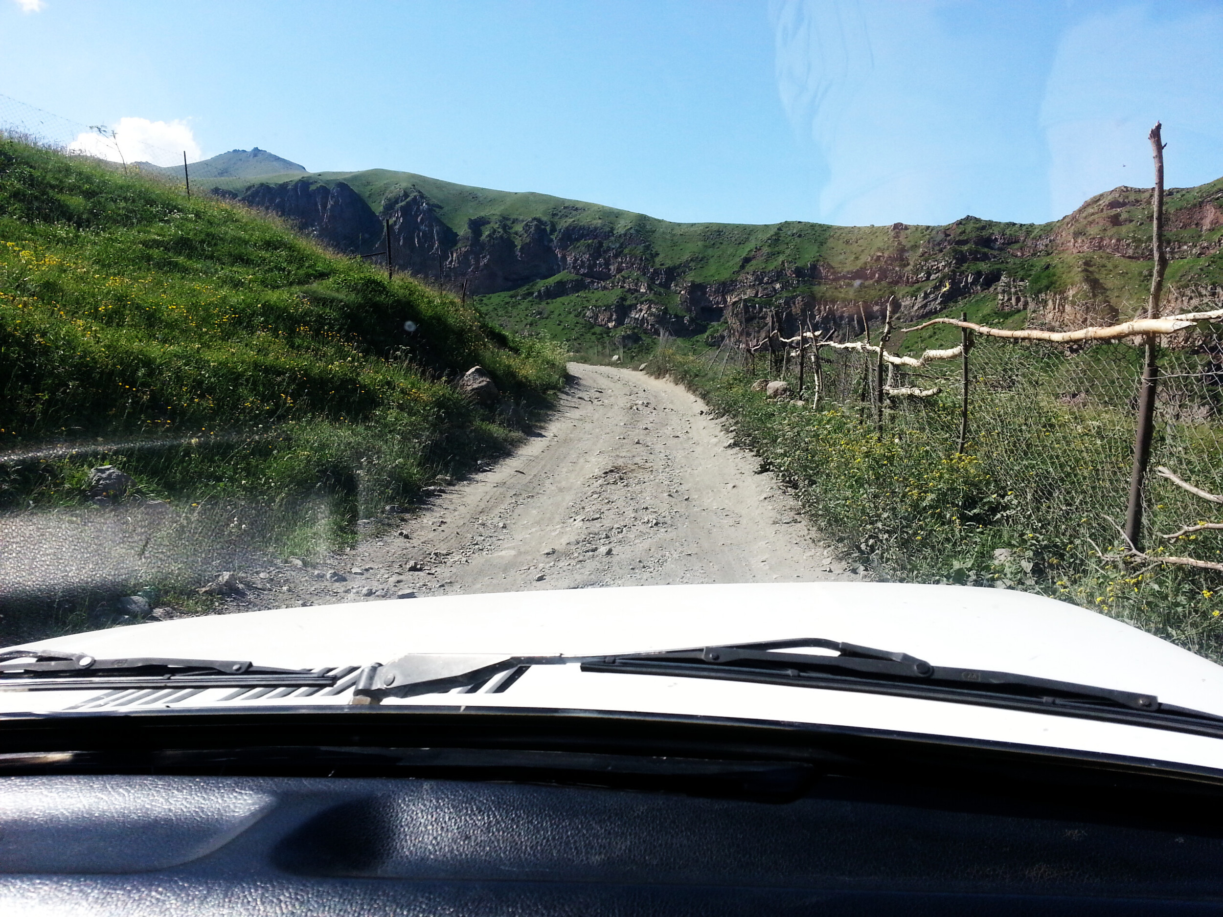 Kazbegi.  Off to Trinity Church! The beginning of the road isn't that bad actually. We even had to wear our seat belts...