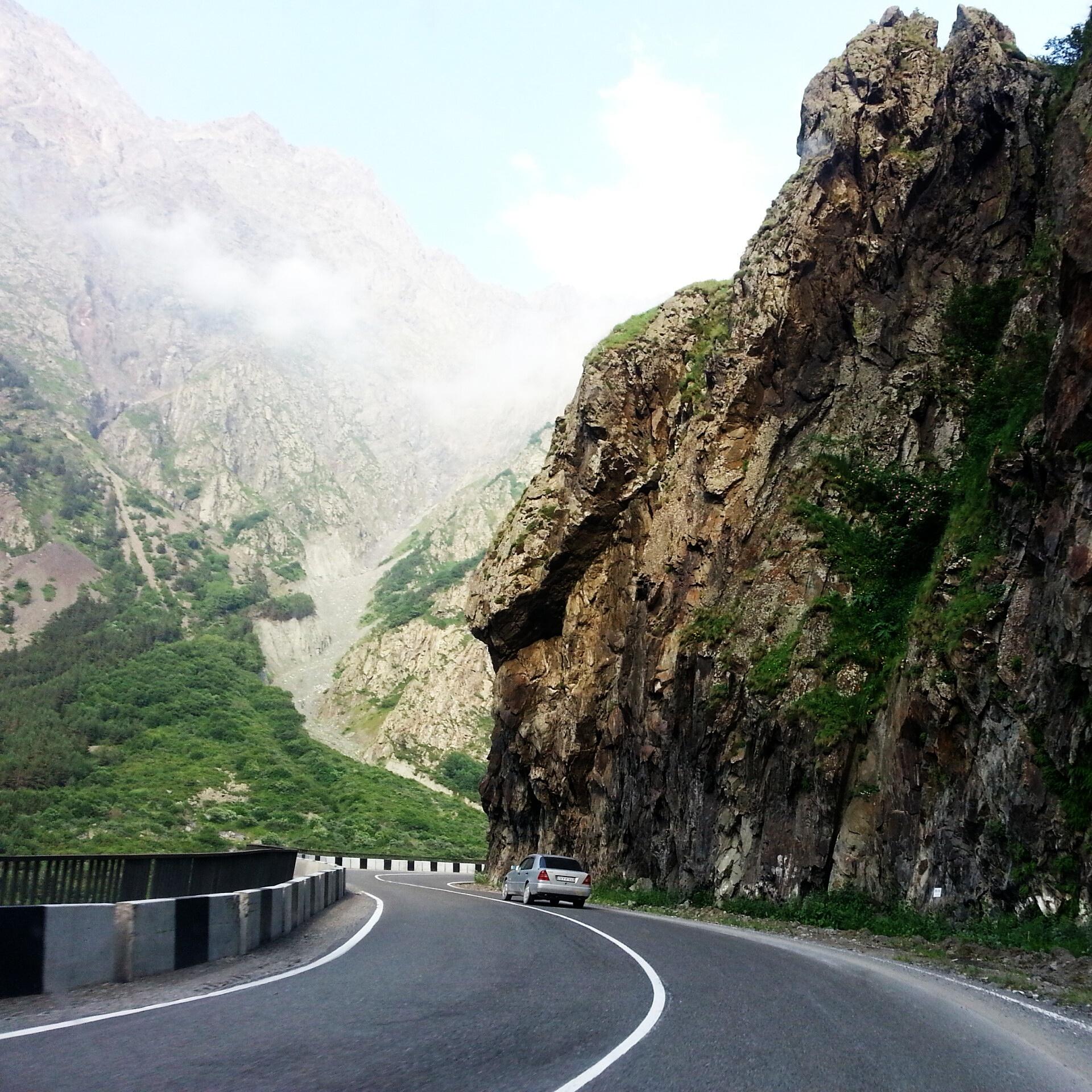 Kazbegi.  The road to the Georgian-Russian border.