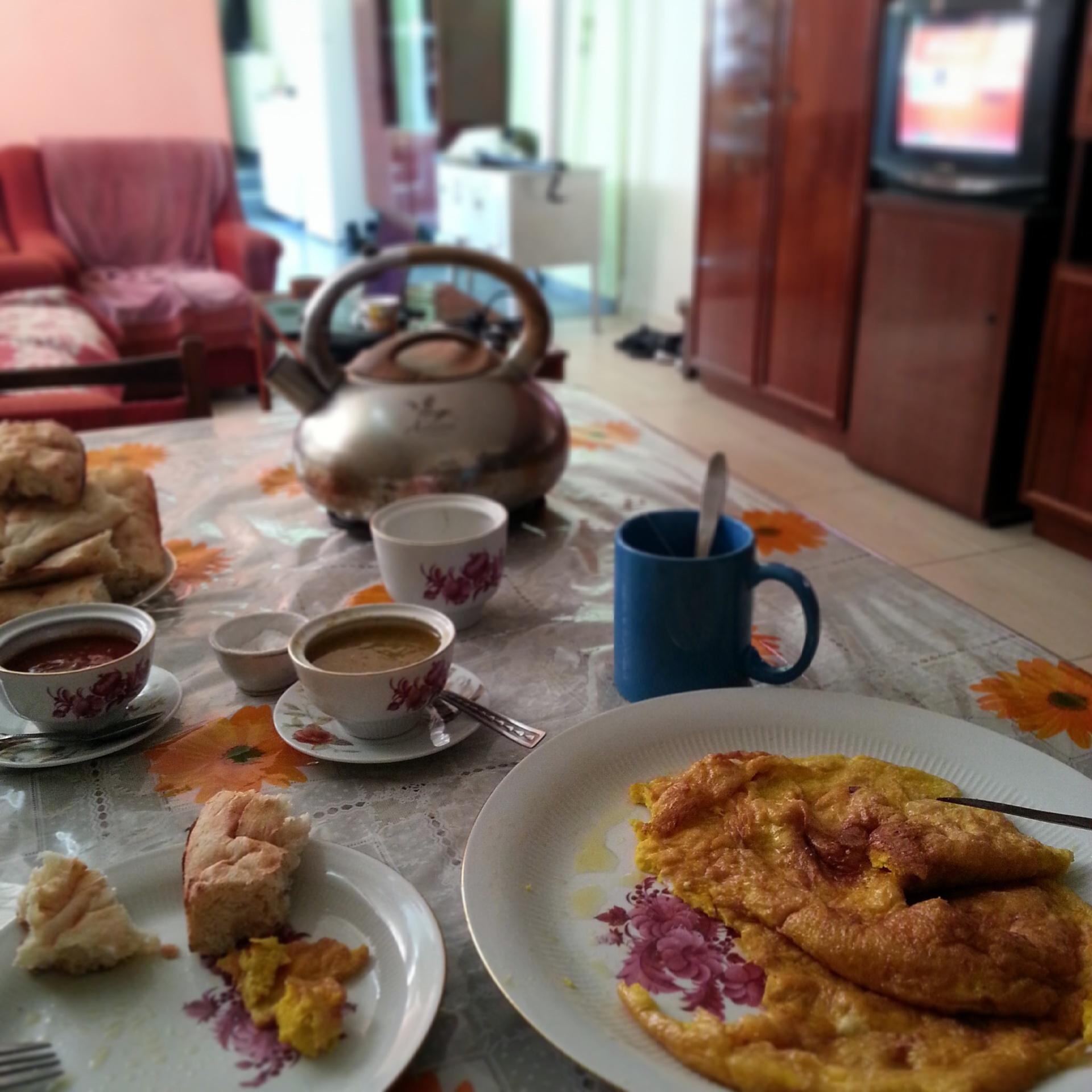 """Kazbegi . Breakfast at Tamara's. Feels like breakfast """"at home""""."""