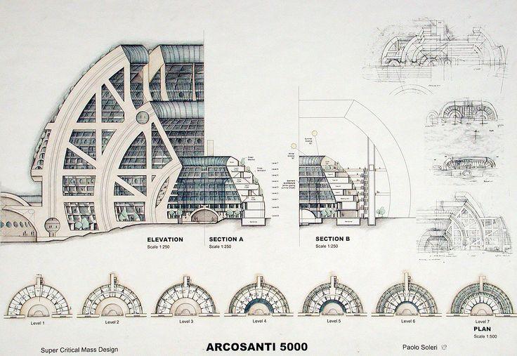 Arcosanti Drawing by Paolo Soleri