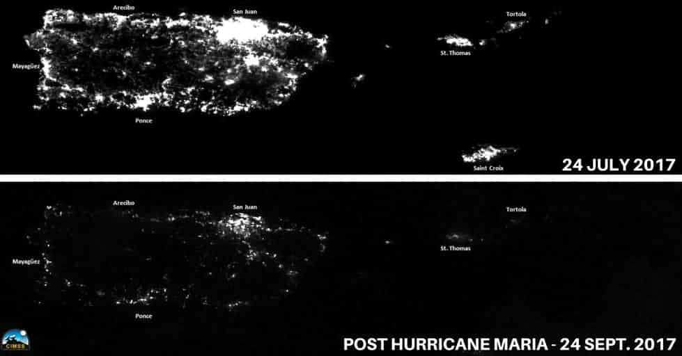 In these photos NOAA compares Puerto Ricos light output from space on July 4th to what it looked like post Hurricane Maria. The small clusters of light you see are likely powered by gas generators.