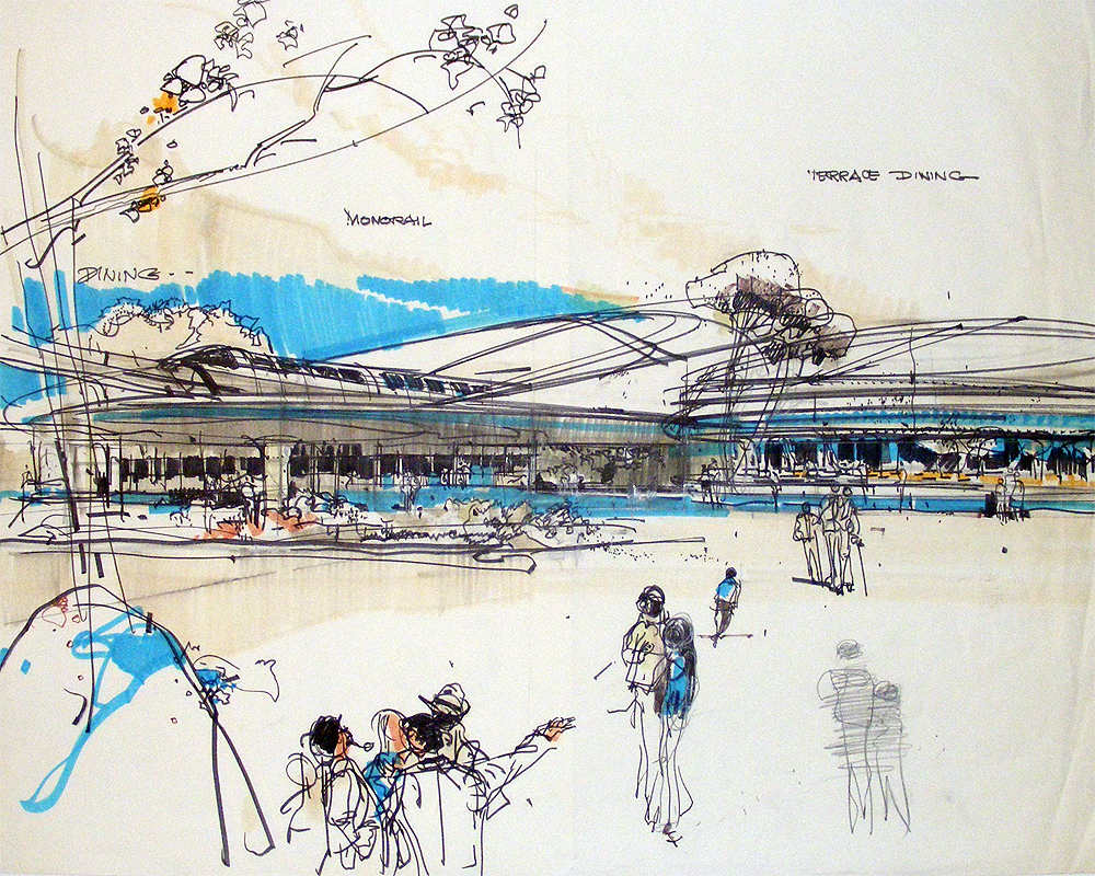 Concept sketch of EPCOT, Walt Disney World