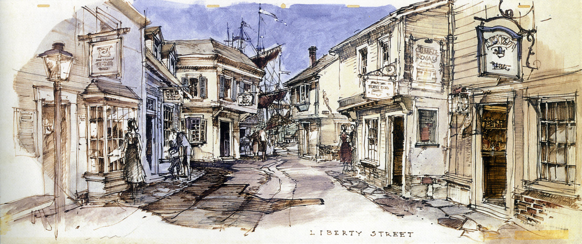 Concept sketch of Liberty Street, Magic Kingdom, Walt Disney World