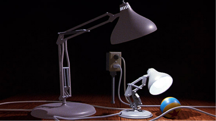 Luxo Jr. animated by John Lasseter and inspired by his desktop Luxo lamp .