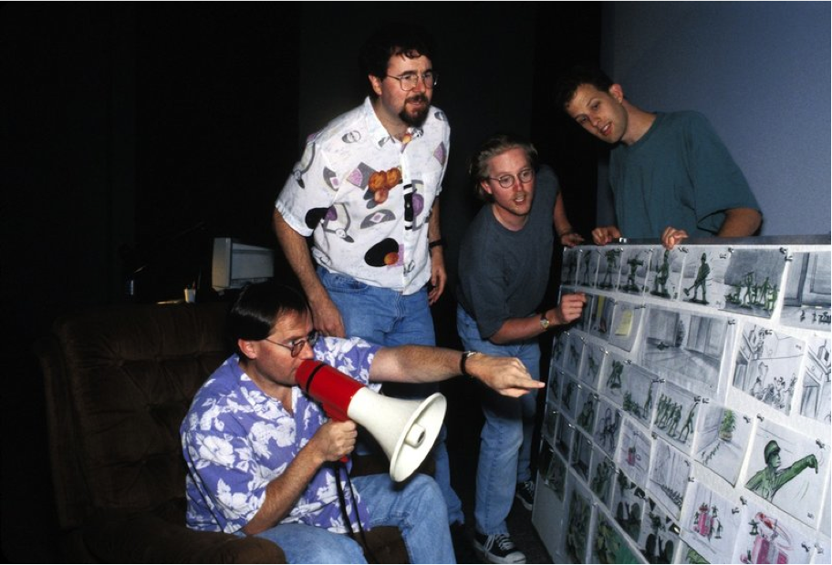 John Lasseter, Joe Ranft, Pete Doctor, and Andrew Stanton working on the first Toy Story.
