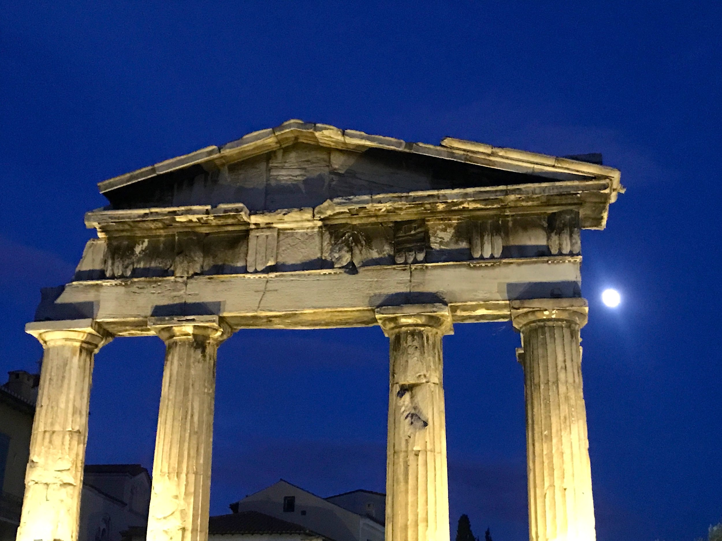 Gate of Athena Archegetis in the Moonlight