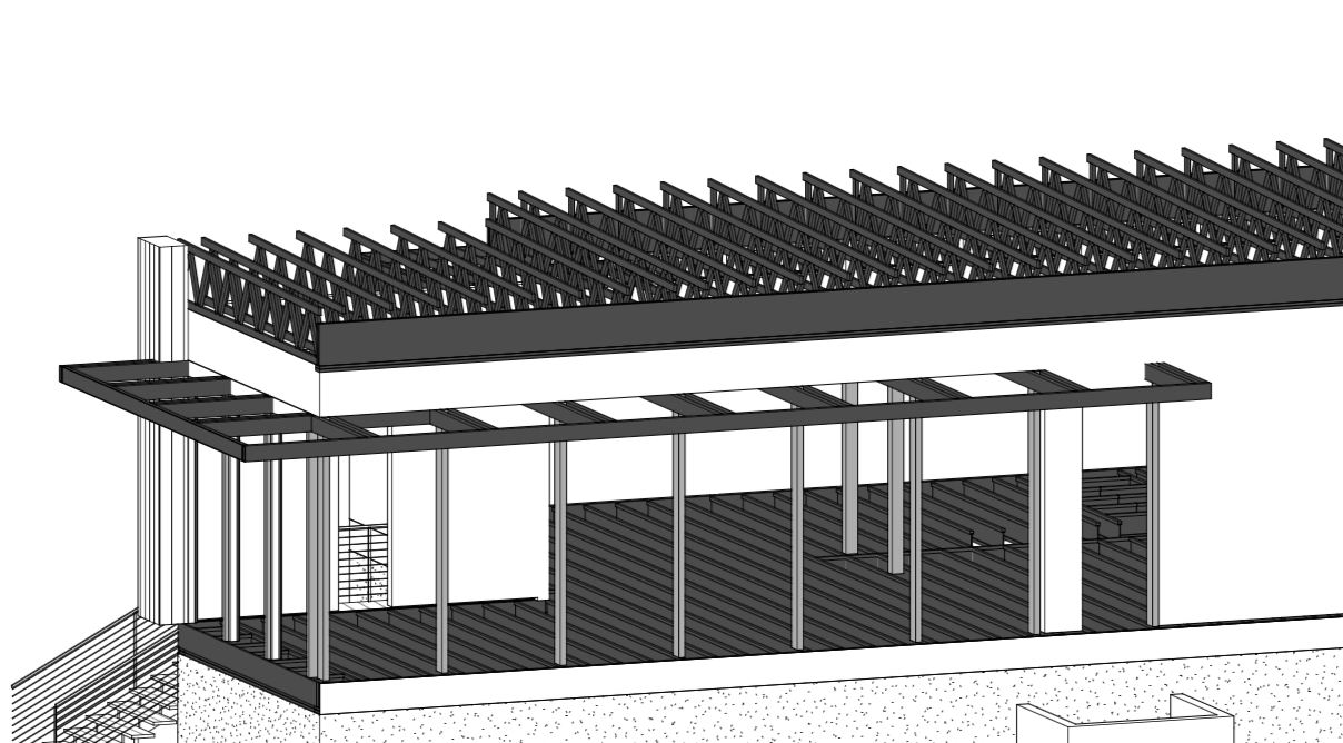 Exterior structure facing south west, floor to ceiling operable windows on south and west, and interior wood beams continue to allow shading in summer.