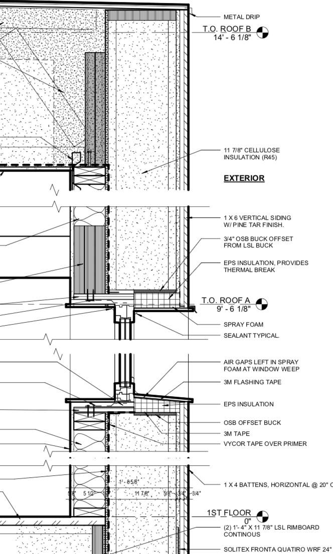 """Roof truss structure allows for added insulation / 1""""9"""" wall made of 2 x 6 studs, exterior insulation and cedar siding"""