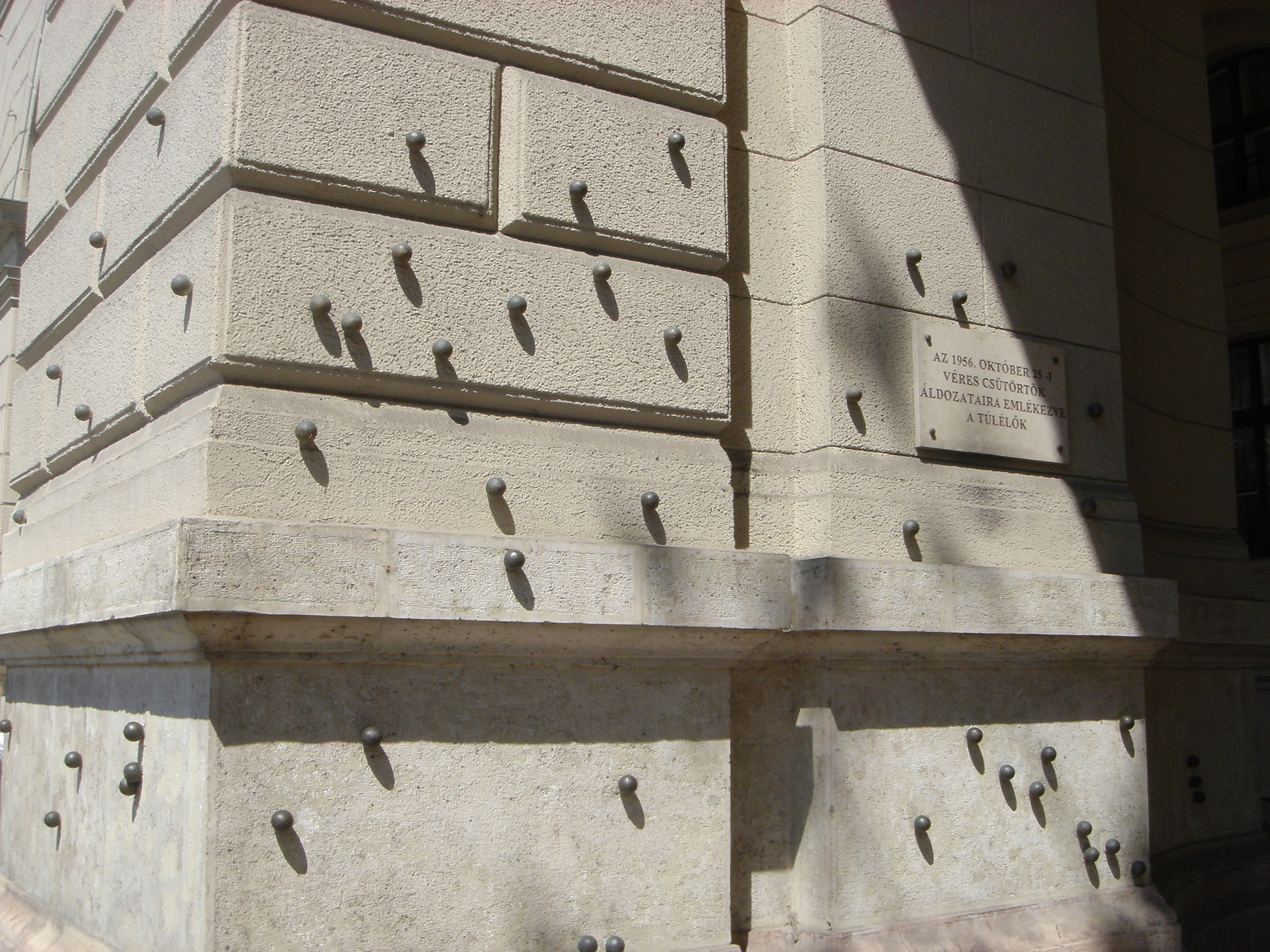 Metal Pellets Marking Bullet Holes from 1956 Revolution on Kossuth Lajos Square