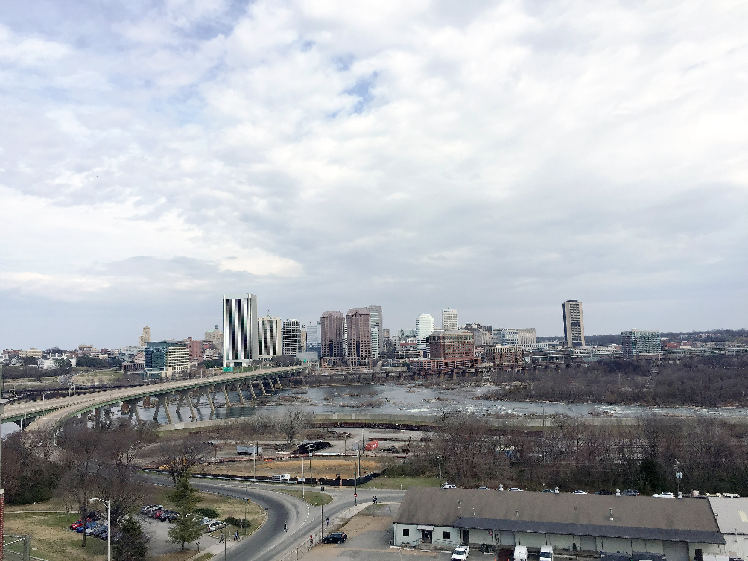 View on the James river and Downtown Richmond
