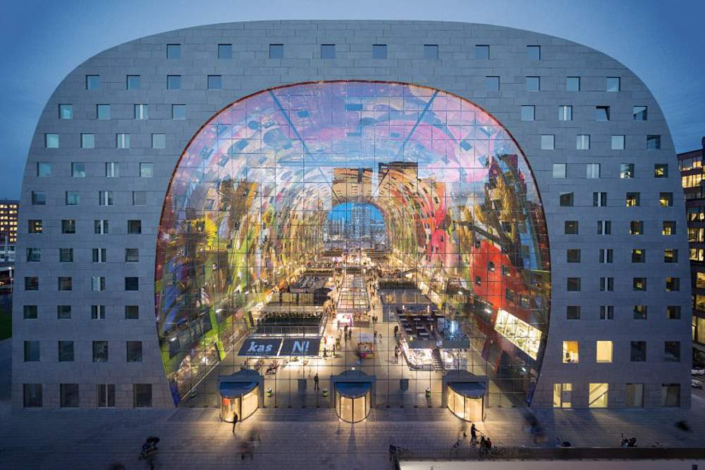 The Markthal by MVRDV. The shape of the building itself defines the building's brand identity more than anything else.