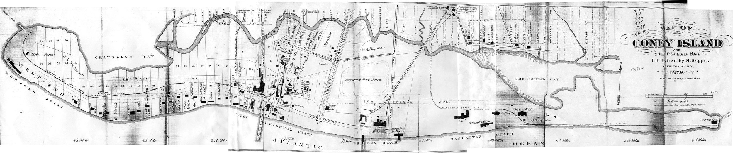 Map of Coney Island, 1879. Note the buildings tended to be built close to the edge of the Atlantic Ocean and clustered around the train station.