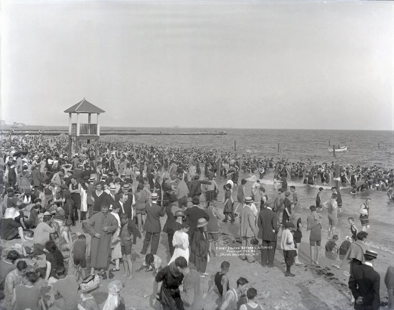 Vintage picture of summer vacationers in Coney Island.