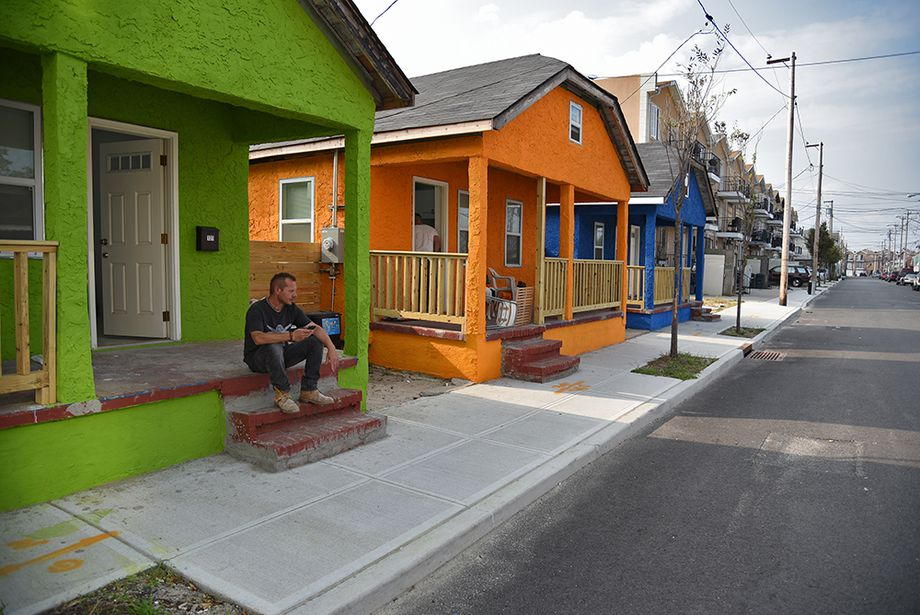 Rebuilt bungalows, after damage from Hurricane Sandy.